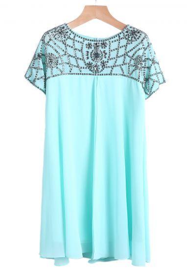 Light Blue Short Sleeve Beaded Chiffon Dress