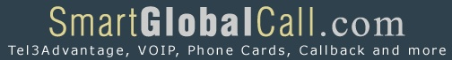 Features Tel3Advantage and phone cards for making cheap phone calls from any phone or VoIP and PC Phone for international calling over the internet.