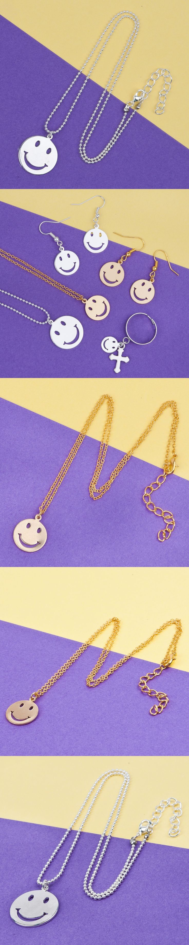 8SEASONS Copper Necklace Silver color / Gold color Round Smiley Emoji Face Pendant Iron Ball Chain 44-44.5cm long 1 Piece