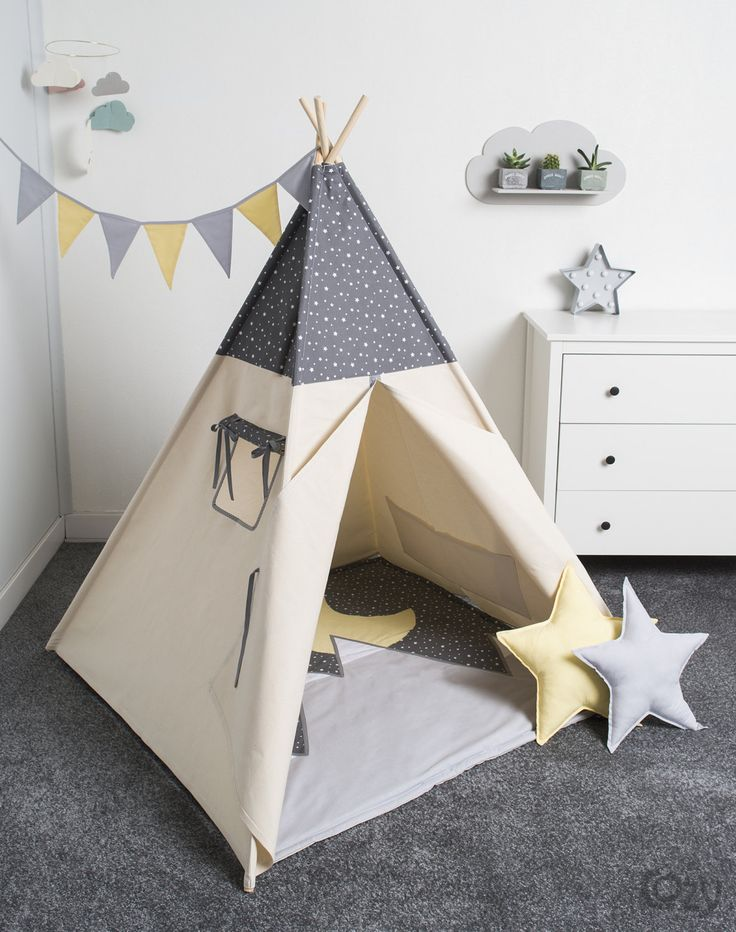 indian teepee, kids play tent, tipi, tente indienne, tente de teepee, tents pour enfant, set 6 elements indian moonlight by cozydots on Etsy