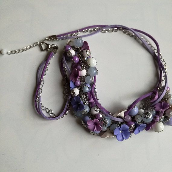 Handmade White/Lavender Necklace