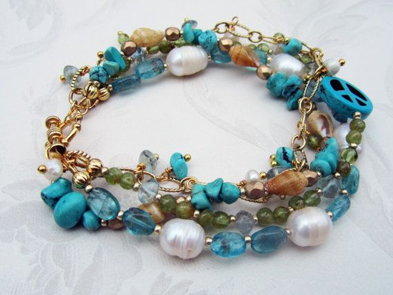 """A friend of mine makes, by hand, her own inspired line.  Beautiful!  """"Surfer girl beach inspired bracelet by Boho Diva Jewelry on Etsy!"""""""