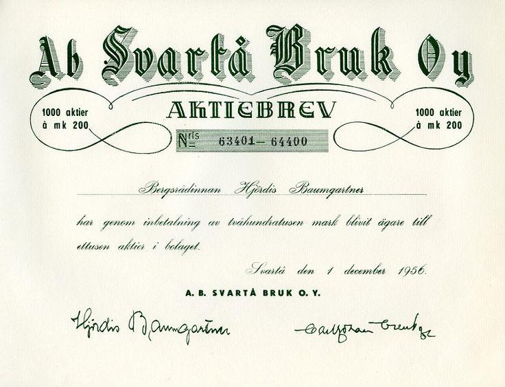 Ab Svartå Bruk Oy #osakekirjat #osakkeet #Baumgartner