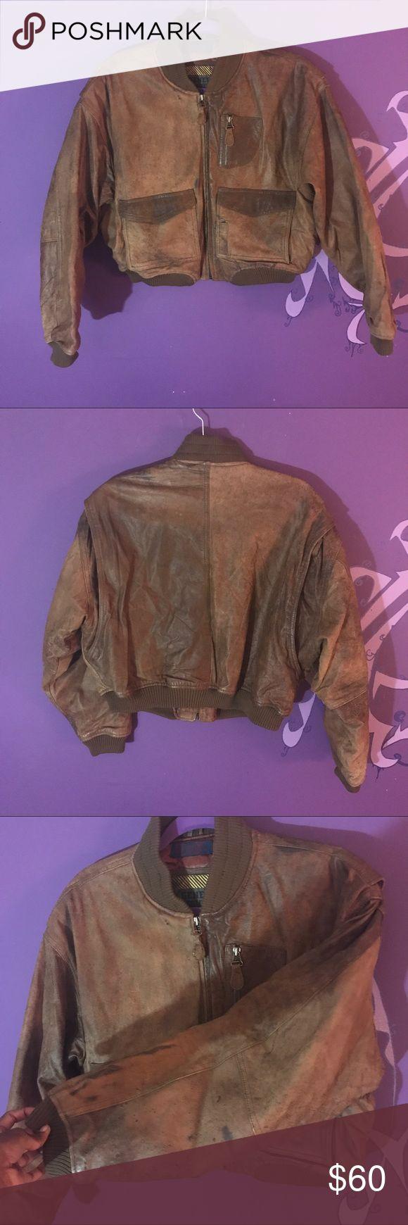 Men's brown leather jacket size medium authentic Men's Authentic brown leather jacket. Few stains along the arm but still a really sweet jacket. Size medium. LINK IN BIO!!! #leather #coat #jacket #brownleather #menswear #mensstyle #mensfashion #motorcycle #warm #real #generra #forsale #depop #poshmark #ebay #smallbusiness #blackowned #thrift generra Jackets & Coats Bomber & Varsity