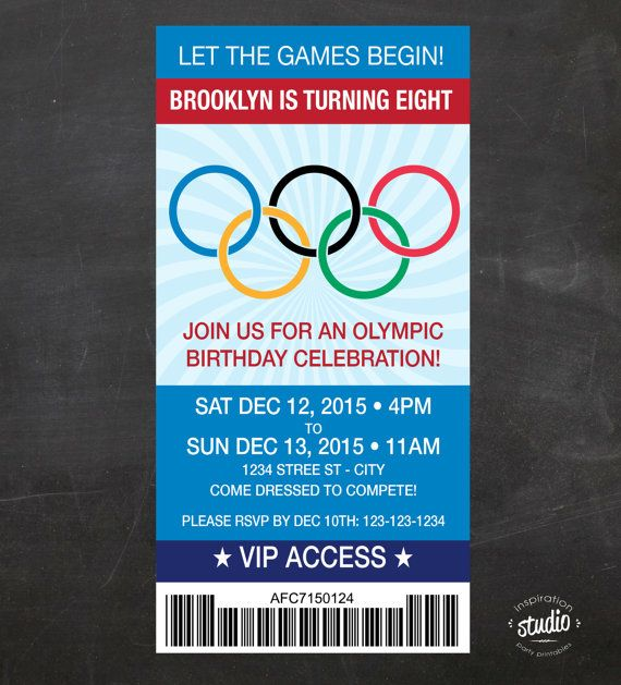 Olympics Ticket Birthday Invite - Let the Games Begin - Custom Printable Birthday Party Invite -
