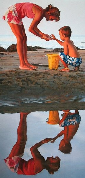 Share And Share Alike by Tom Sierak on ARTwanted The most interesting aspects of this painting to me are the mirrored images, and how the rich, late afternoon sunlight makes their flesh tones literally glow. I also like to emphasize the negative spaces as well as the positive by cropping the whole image close to the subjects.