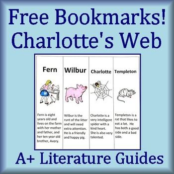 This is a FREE download for Charlotte's Web bookmarks.  Simply print, color, cut and glue!  These also include character traits and other information.