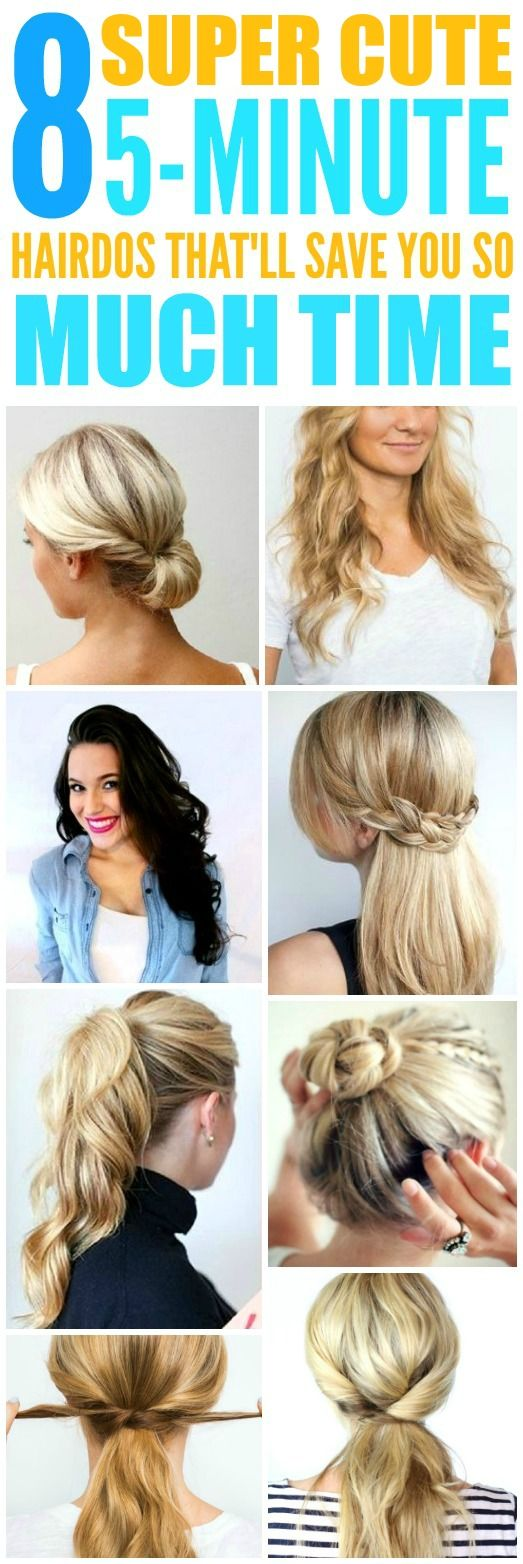 These super easy and cute 5-minute hairstyles are THE BEST! I'm so glad I found these AWESOME 5-minute hairdos. Now I have some awesome ways to do my hair on busy mornings! Definitely pinning!