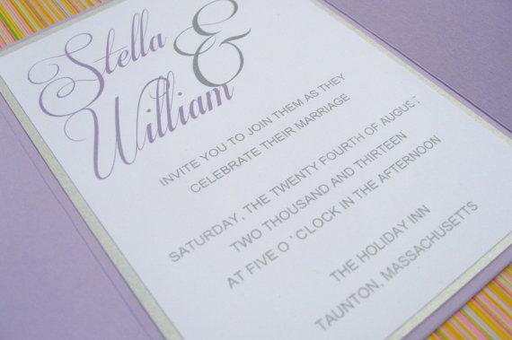 Custom Lilac Modern Script Gate Fold Wedding by stampingblock, $3.75