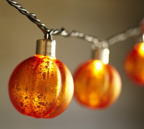 Orange Mercury Glass Pumpkin String Lights | Pottery Barn - How great for an outdoor Halloween / Fall Party
