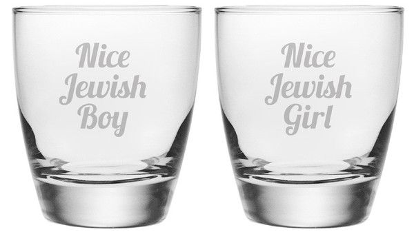 Nice Jewish Boy and Nice Jewish Girl are etched on these double old fashioned glasses.  This set of 2 glasses makes a handsome addition to any home bar.
