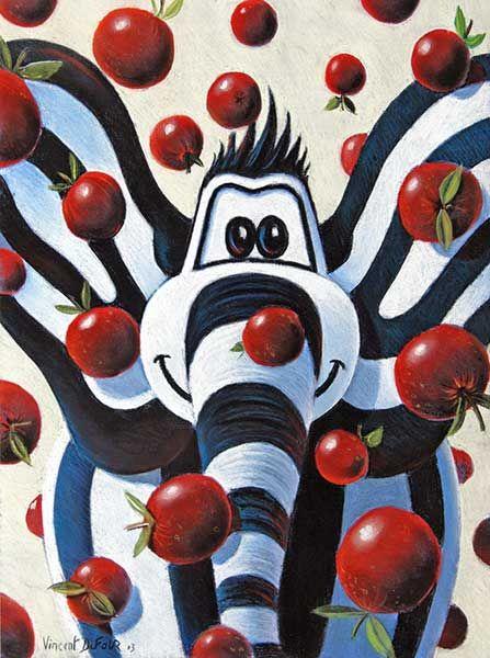 """Tableau éléphant de Vincent Dufour intitulé """"Titou pomme"""" Pastel sec 40/55cm [tableau chambre bébé enfant - Le monde de Titou]"""