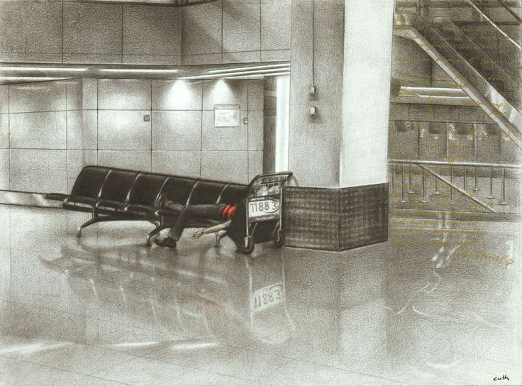 "Contemporary Drawing - ""Airport"" (Original Art from Emese Cuth)"