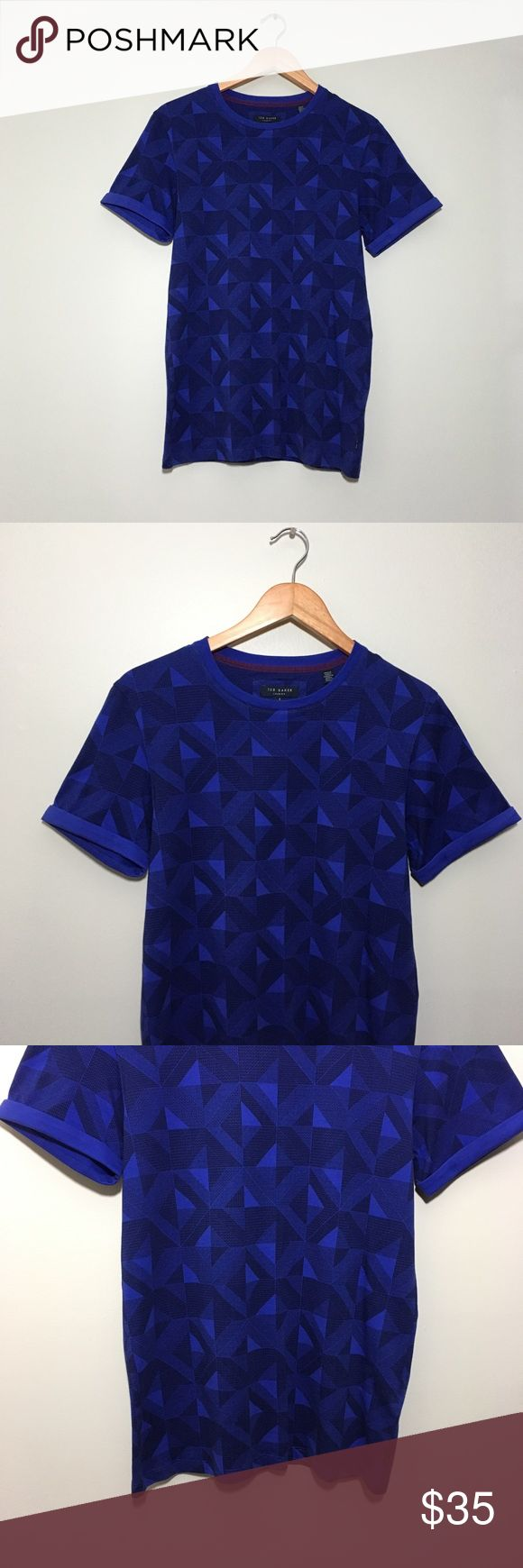 Ted Baker Geometric Printed T-Shirt Geometric Printed t-shirt by Ted Baker. Cuffed sleeves. Color was hard to photograph, but is not as bright as it appears. More of a muted light blue purple color, can appear lighter or darker depending on the lighting. Ted Baker size 2 is equivalent to a size small. Great condition. No rips or stains.  Measurements (approximate, taken laying flat): Underarm to underarm: 17.5 inches Length: 27 inches  Material: 100% cotton  ❌No trades❌ Ted Baker Shirts Tees…