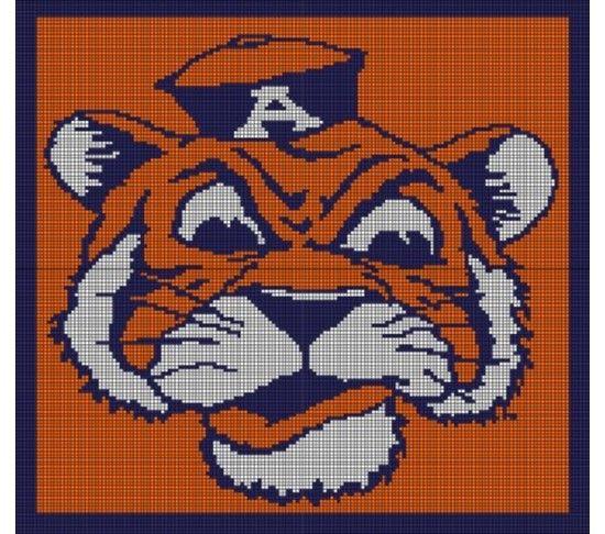 42 best auburn images on pinterest crochet afghans crochet auburn tigers crochet pattern afghan graph 35 fandeluxe Gallery