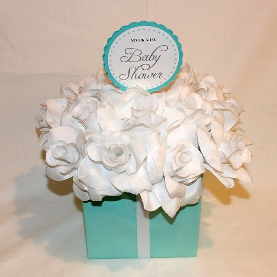 Centerpiece light teal white silk roses flower box