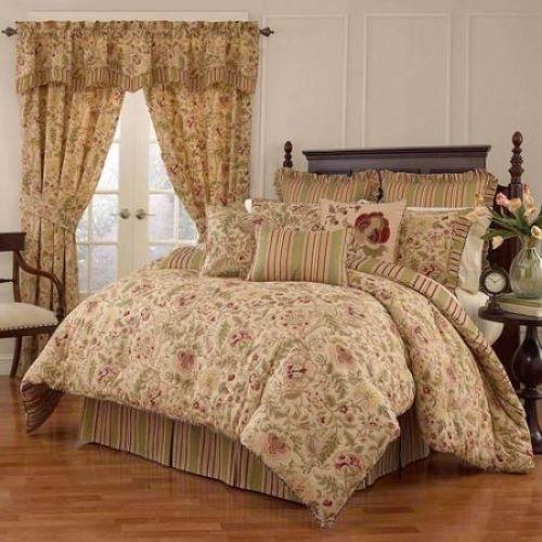 King Size Comforter Set Antique Floral Jacquard Beige Green Red Cotton Bedding #Unbranded