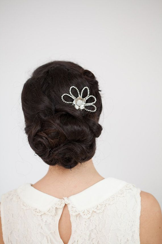 Wedding Headpiece Bridal Accessory Mantilla style comb with flower,  Bridesmaids hair comb