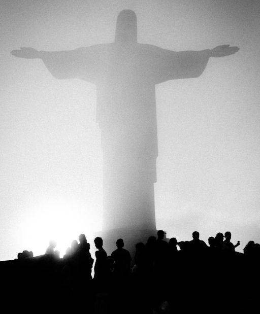 Brazil -- WOW! LOVE the way the fog is making the statue of Jesus look as though he's REALLY standing there.