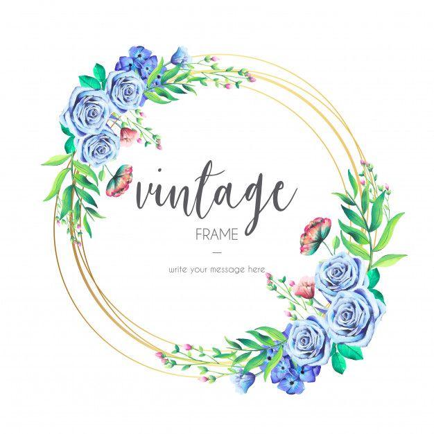 994ef44067e72 Descarga gratis vectores de Marco vintage con flores azules ...