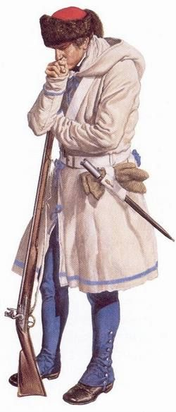 """British soldier in winter dress, 1765-1783 - """"The British army issued special winter clothing to troops stationed in Canada. In this period, no extra winter clothing was normally issued to the troops, leaving them with only blankets to wrap around themselves when the weather grew too cold for their regular clothing. The fur cap, hooded coat (often made of blanket material) and woolen mittens were all much-needed adaptations to the Canadian climate."""""""