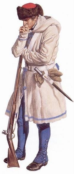 """Soldado británico en traje de invierno, 1765-1783 - """" El ejército británico emitió ropa especial de invierno para las tropas en Canadá En este período , sin ropa extra de invierno a las tropas , lo que les deja con sólo mantas para envolver alrededor de sí mismos cuando el . tiempo creció demasiado frío para su ropa normal . el gorro de piel , capa con capucha (a menudo hecha de material de manta ) y guantes de lana fueron todos adaptaciones muy necesaria para el clima de Canadá . """""""