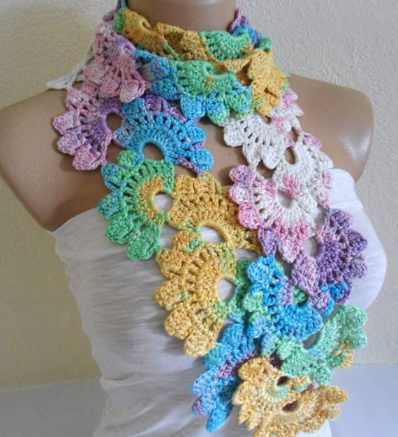 Crochet Multiple Colors : Multi Color Bamboo Lace Scarf crochet Pinterest Lace Scarf ...