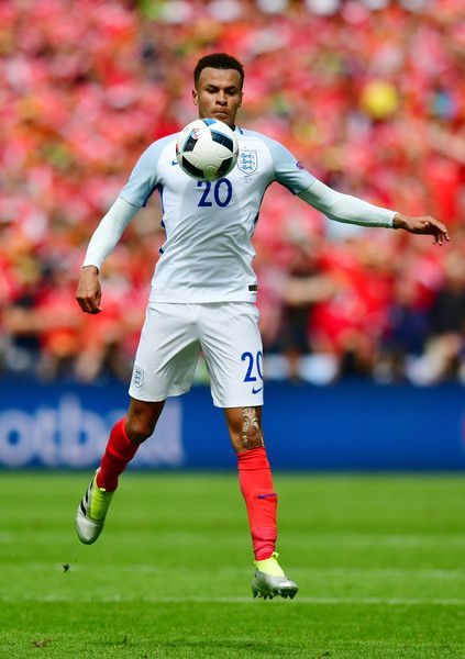 Dele Alli of England in action during the UEFA EURO 2016 Group B match between England and Wales at Stade Bollaert-Delelis on June 16, 2016 in Lens, France.