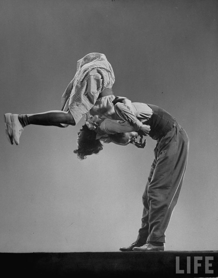Leon James & Willa Mae Ricker demonstrating a step of The Lindy Hop, 1943 by Gjon Mili