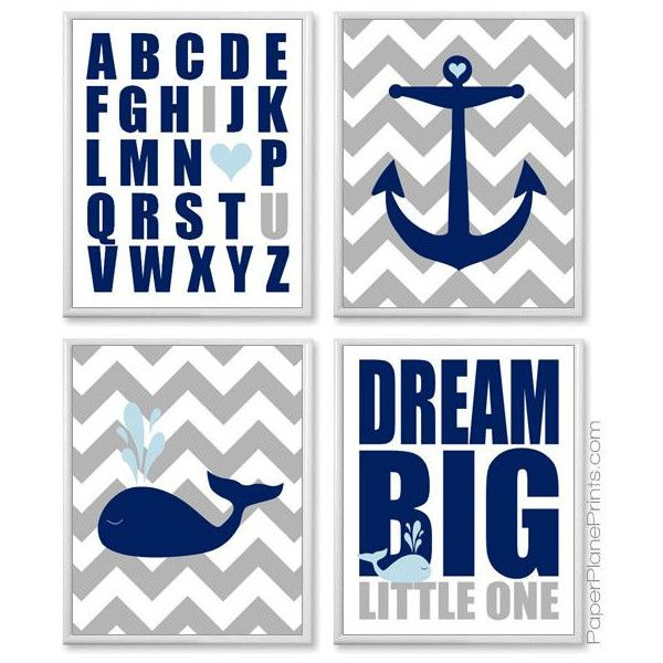 Nautical Baby Room Pictures, Whale and Anchor Nursery Wall Art, Kids Prints, Navy Light Blue and Grey Ocean Theme, 11x14 Chevron Posters