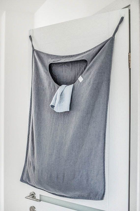 Hold on... this is BRILLIANT! Graphite hanging linen laundry bag