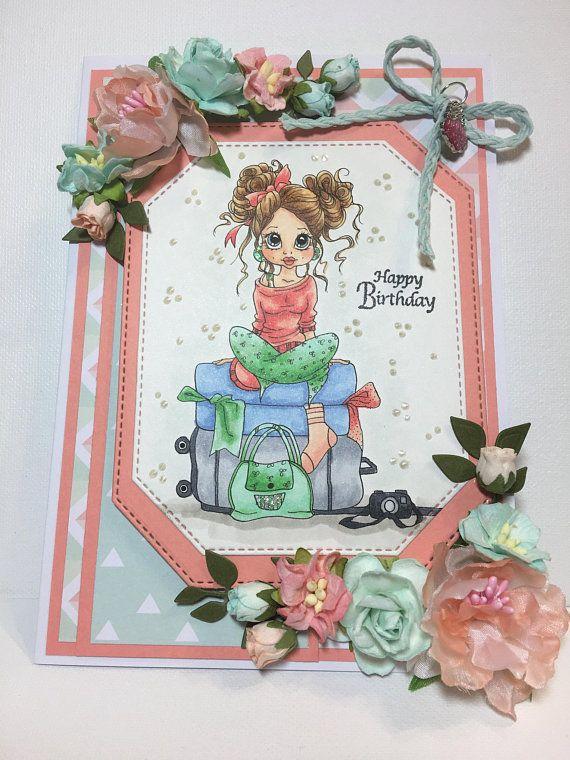 3D Birthday card For Her Birthday card For Her Birthday Girl card Handmade Birthday card Fancy Birthday card Blank Inside card