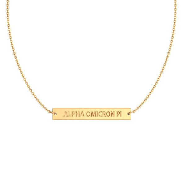 Alpha Omicron Pi Argentium Yellow Gold Plate Infinity Bar Necklace Neklace