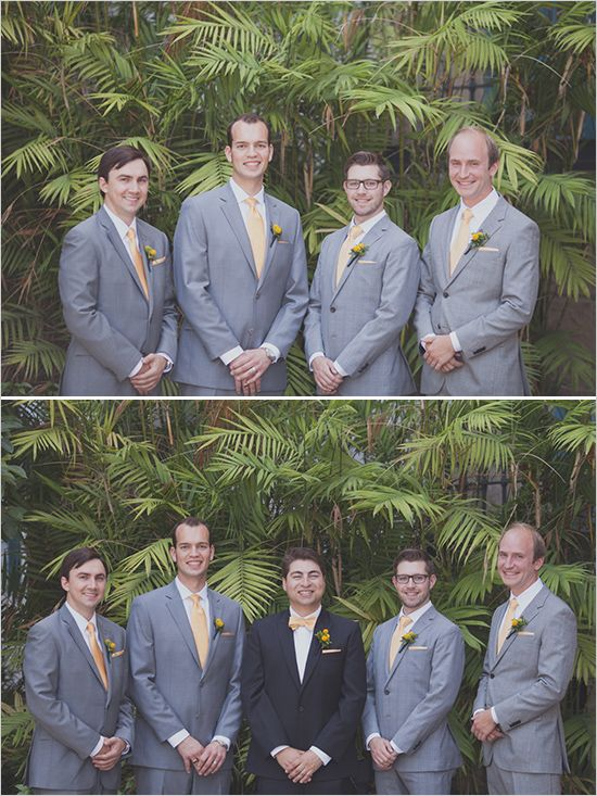 yellow and gray groomsmen ideas #groomsmen #groomlook #weddingchicks http://www.weddingchicks.com/2014/03/12/santa-barbara-yellow-and-gray-wedding/