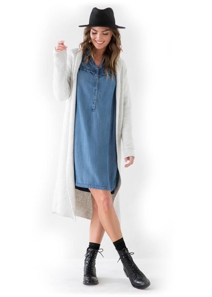 Garcia Skjortekjole I70080 Ladies Dress - light blue vintage