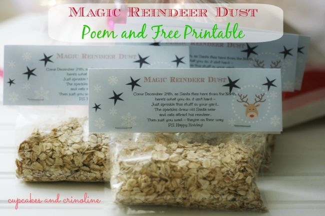 Magic Reindeer Dust ~ Poem and free printable ~ the glitter draws Santa to your house and his reindeer are attracted by the oats ~ a cute yearly tradition