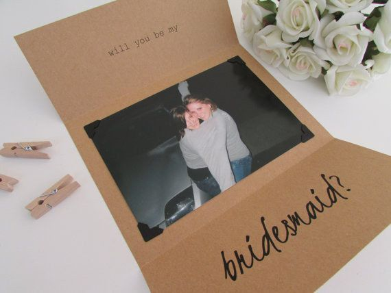 "Make a card pop by including a funny old photo. | 23 Insanely Creative Ways To Ask ""Will You Be My Bridesmaid?"""