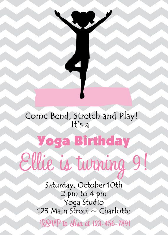 Yoga Birthday Party Invitation  Yoga Party by TheButterflyPress