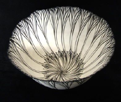 """Vessel, Black and White Petal Sequence "" Coiled Porcelain by Cheryl Malone"