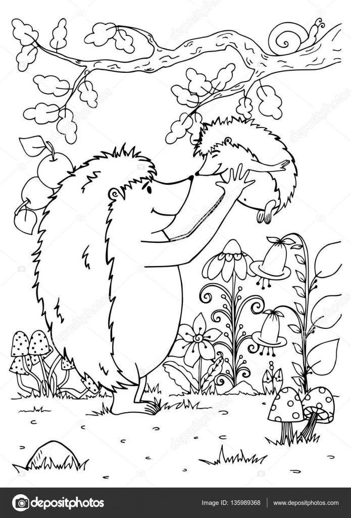 Doodle Illustratie Van Een Egel Moeder En Baby Vector Kleurplaat