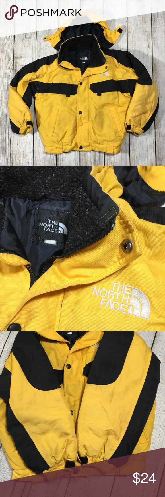 "Vtg North Face Kids Hooded Jacket Coat Small 7 8 Vintage  THE NORTH FACE  Kids JACKET COAT  BOYS SMALL 7 8 Colors: Black and Yellow  Hooded Shows wear with minor discoloration on front near pockets and on sleeve ends. Measurements taken laying flat: Chest: 19.5"" Sleeve length from collar: 21.5"" Sleeve length from armpit: 14.5"" Overall length: 19.25"" Bottom width: 14.5"" The North Face Jackets & Coats"