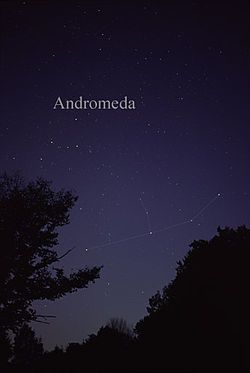 I was able to locate Andromeda confidently for the first time tonight (August 25). She's near her parents and her savior. I followed Cassiopeia down to get to Perseus, and then over to see Andromeda's long arms, stretched and chained to the rock. Her hand on the right (Alpha Andromedae, Alpheratz/Sirrah, formerly Delta Pegasi) is borrowed by Pegasus as one of the points of its square.