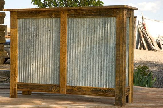 Dry Bar Or Booth Stand Made From Corrugated Metal And
