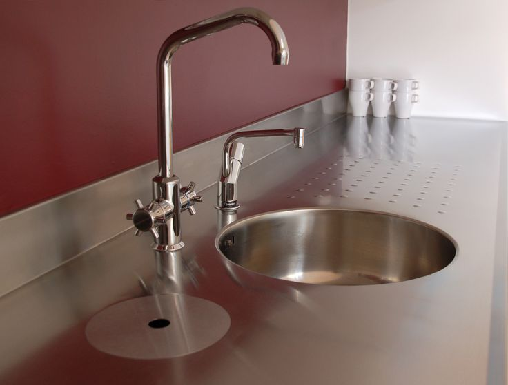 GEC Anderson Tea Point, including integral sink, bin-chute, mixer tap and Quooker hot water tap. Note the integrated back upstand