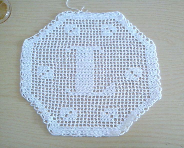 """Monogramma esagonale a uncinetto Filet lettera """"L"""", decorazione, centrino, applicazione, decorazione cuscini"""
