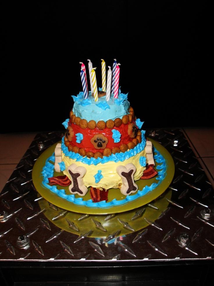 My Dog's Birthday Cake :) Used beef cake recepie from www.dogtreatkitchen.com, altered it a bit