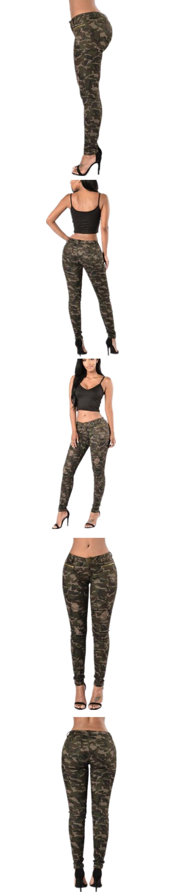 Fashion women camouflage army green jeans mid waist ladies skinny pencil cotton pants 2017 woman for girls