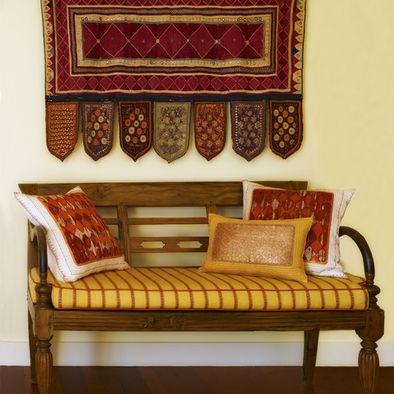 Rich red and yellow matched with ethnic style is for Traditional indian interior design