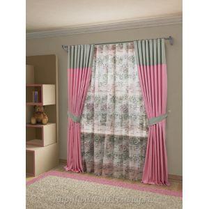 Шторы для гостиной: Сатера (S055-2) - 400х260, (180х260)х2 см. - розово-серый