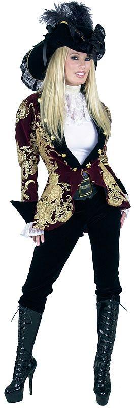 Elegant Burgundy Lady Pirate Costume